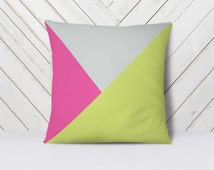 Mustard Yellow Rose Pillow, Geometric Pillow Set, Fall Pillows, Modern Colors Pillows, Stamped Triangles Pillowcase, Minimalist Geometrical