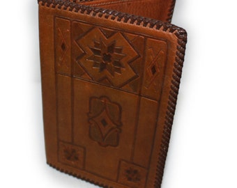 Vintage Tooled Leather Wallet Clutch Hand Stitched geometric Tooling Trucker size