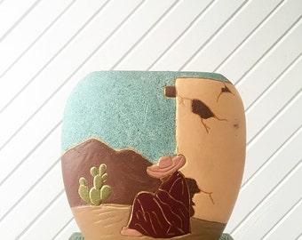 Vintage Southwestern Vase, Adobe House, Cactus, Desert Decor