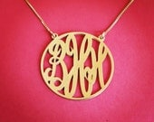 14k Gold Monogram Necklace Solid Gold Monogram Necklace Monagram Necklace Monogram Gold Monogrm Necklace Gift For a Womans Jewelry Gold