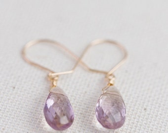 Ametrine Simple Earrings, Ametrine Teardrop Earrings - for Her, byJTSjewelry