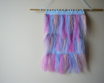 Fluffy Fringed Pastel Wall Hanging
