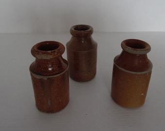 Stoneware jar trio, small, antique, salt glazed.