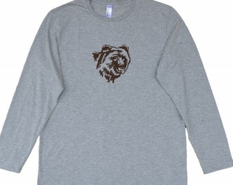 Embroidery, Machine embroidered Bear's head on men's long sleeve t-shirt,Machine Embroidery,Tees