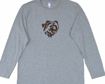 Machine embroidered Bear's head on men's long sleeve t-shirt,Machine Embroidery,Tees