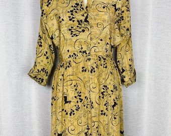 1940's Silk Jumping Horses and Hearts Novelty Print Shirtwaist Dress