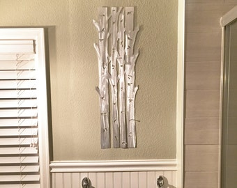 Aspen Trees Metal Wall Art, Aspen Tree Home Decor, Hand cut Aluminum artwork for you kitchen and bathroom. Hand made artwork. Girt for her
