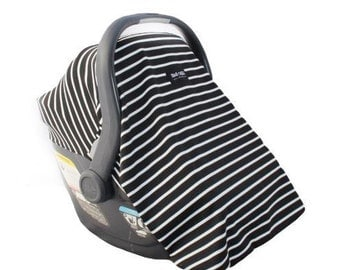 Car Seat Cover for Infant Car Seat Fits all Infant Car Seats- Cookies and Cream (Black and White Stripes)