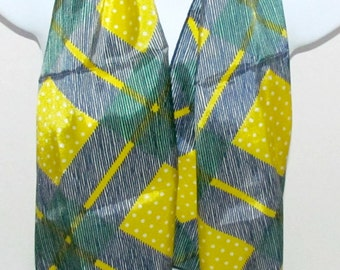 Vintage Glentex Plaid and Dots Long Scarf in Blue Green Yellow and White, St Pats Fashion Accessory,bNylon Scarf