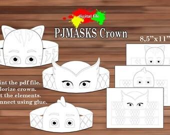 PJmasks paper Crown, Coloring Crown, PDF, Instant Download