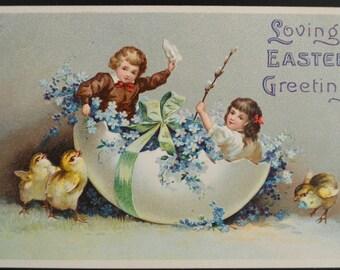 Easter Postcard Children in Egg Artist Ellen Clapsaddle Series 2003