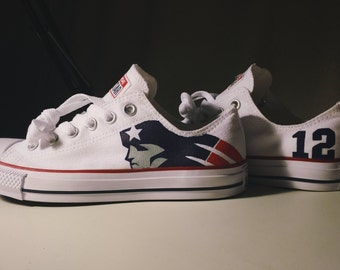 Hand Painted New England Patriots Shoes