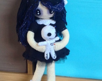 Beautiful Goth Doll with her own voodoo doll