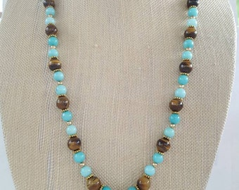 Teal and Tigers Eye Butterfly necklace