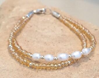 Pearl bracelet, yellow seed bead bracelet, sterling silver bracelet, sundance style bracelet, double strand bracelet, gift for her