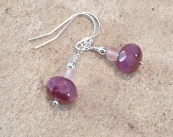 Pink drop earrings, Czech glass bead earrings, dangle earrings, sterling silver drop earrings, everyday earrings, gift for her