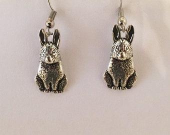 Bunny Rabbit Silver Tone Pierced Earrings