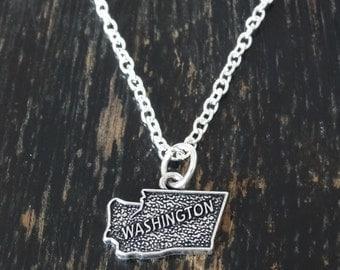 Washington Necklace, Washington Charm, Washington Pendant, Washington Jewelry, Washington State, Seattle Necklace,  Washington Map, Seattle
