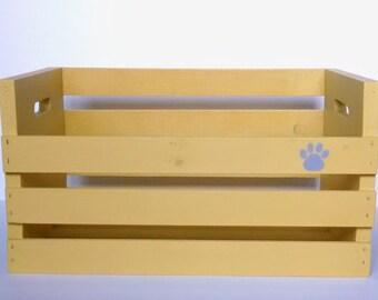 Personalized Toy Box - Yellow w/Gray Paw Print