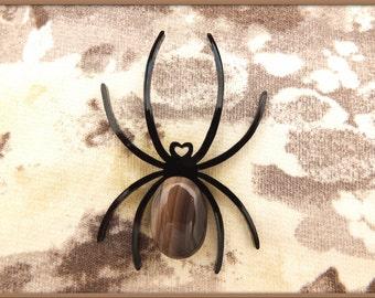 Spider Plexi Pin / Black Plexiglass Lasercut / Natural Agate Cabochon / Minimalist Design Accessory / Fashion Spider Brooch / Animal Jewelry