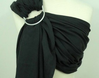 Woven ring sling - 100% organic cotton- Charcoal grey, black