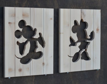 Mickey Mouse & Minnie Mouse Wood Silhouette Disney Cutouts