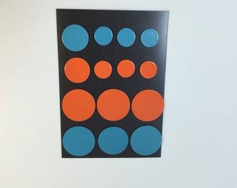 Circle Flat Magnets - Orange and Blue