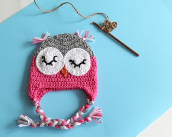 Tuque OWL Pink for baby