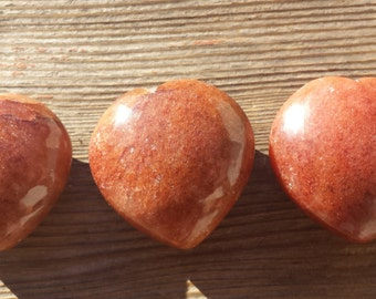 NATURAL RED AVENTURINE Gemstone Puffy Heart 40-45mm