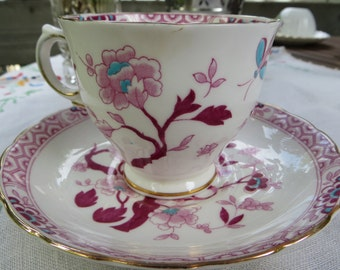 Tuscan Fine Bone China Tea Cup and Saucer Made in England Rose & Teal