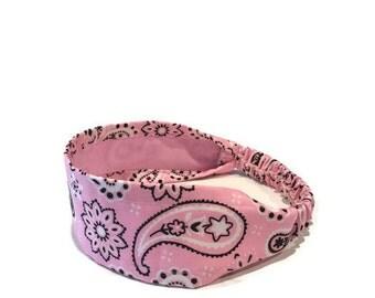 Pink Bandana Headband, Paisley Headband, Headband for Little Girls, Pink Headband, Headband for Women, Cute Headbands, Paisley Head Wrap