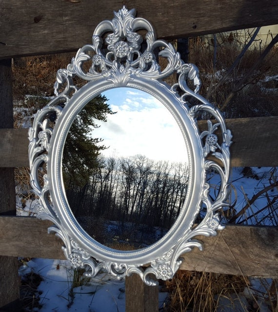 Items similar to sale silver mirror oval frame mid for Silver framed mirrors on sale