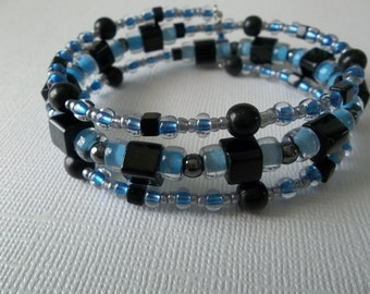 Baby BLUE Beaded Wire WRAP BRACELET - blue black silver Three Wrap