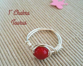 Silver Wire Coral Ring,Handmade Coral Ring,Gemstone Ring,Wire Ring,Silver Wire Ring,Wire Wrapped Ring,Bohemian,Red Coral Silver