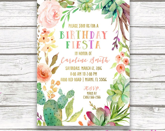 Fiesta Birthday Invitation, Cactus Birthday Party Invitation, Mexican Cinco de Mayo Invite, First Fiesta Birthday Invitation, Printable