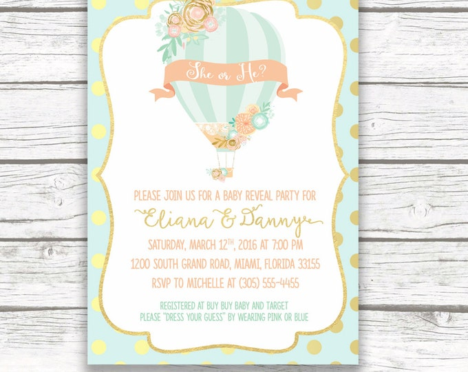 Hot Air Balloon Baby Gender Reveal Invitation, Floral Gold Mint and Peach Baby Gender Reveal Invite, Printed or Printable Invitation