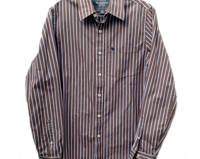 Small A&F Brown Striped Long Sleeve Abercrombie and Fitch