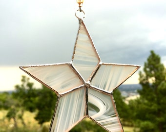 Stained glass white and clear simple star suncatcher