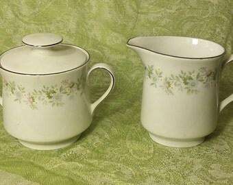 Vintage Johann Haviland Bavaria Germany Covered Sugar Bowl/Creamer Set-Forever Spring Pattern-Floral Rim and Center-Excellent Condition