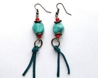 Suede & Stone Southwest Style Brass Drop Earrings, leather jewelry, suede earrings, southwest jewelry, southwest earrings, Santa Fe style