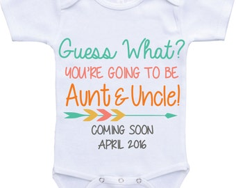 Aunt and Uncle Pregnancy Announcement Onesie Uncle and Aunt Pregnancy Reveal baby Going to be Aunt and Uncle Birth Announcement Shirt