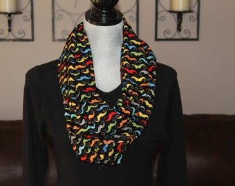 Movember mustache Infinity scarf