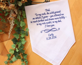 Dad Handkerchief, Father of the Bride hanky, wedding gift for dad, infinity design, motif, Wedding favor, Father's day gift. MS1F23