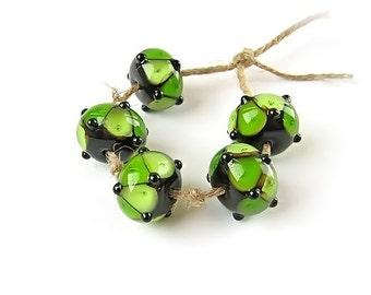 Green Lampwork Beads, Glass Lampwork Bead Set, Handmade Glass Beads, Multicolor Beads, Black, art beads