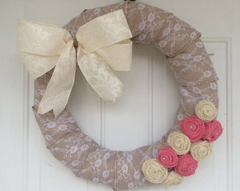 Whimsical Lace Wreath with Burlap Roses
