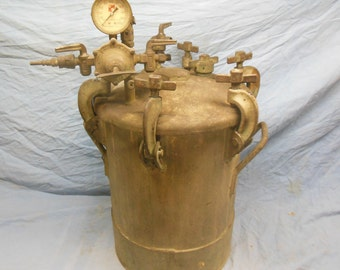 1949 Binks Pressed Steel Tank Co. 5 Gallon Galvanized Industrial Pressure Pot Paint Sprayer - Steampunk Shabby Chic Industrial Decor