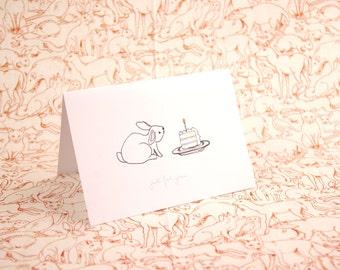 Bunny Birthday Card A6 - rabbit birthday cake - rabbit art - bunny greetings card