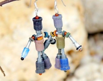 Recycled robot earrings, quirky jewelry, geek gift, repurposed junk, upcycled plastic earrings, cute robots, fun earrings, gift for friend