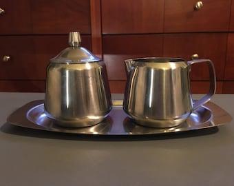 1960s Midcentury Oneida Continental Stainless Steel Three Piece Set - Creamer & Sugar Bowl on Tray - Made in Japan - Coffee Set  Tea Service