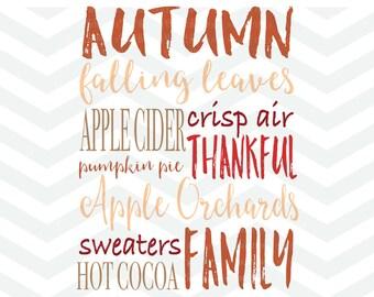 Autumn Fall SVG File, Subway Art SVG, Thankful SVG, Apple Cider, Latte, Fall Cut File, Thanksgiving, Cricut, Silhouette, Family svg